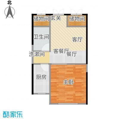 海航YOHO湾55.67㎡A户型一室一厅一卫55.67平米户型图户型1室1厅1卫