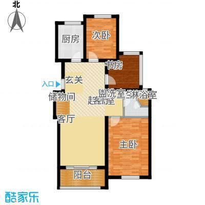 青枫国际94.42㎡青枫国际D户型2+1房户型2室2厅1卫