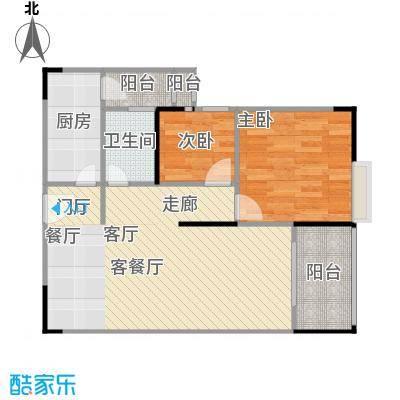 鸿福花园D户型2室1厅1卫1厨