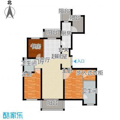 龙德花园181.00㎡二期D2户型三房两厅两卫181平米户型3室2厅2卫