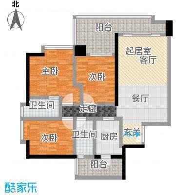 富力君湖华庭120.00㎡T2栋2-25层03户型3室2卫1厨