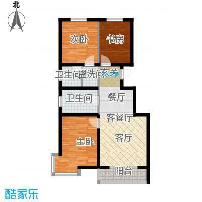 滨海未来城107.03㎡a户型3室2厅1卫