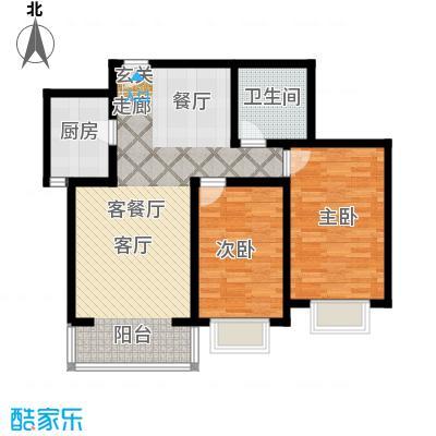 奇源尚层98.44㎡户型3户型2室2厅1卫