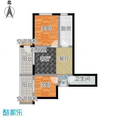 东润财智公馆77.52㎡两室两厅一卫77.52平米户型2室2厅1卫