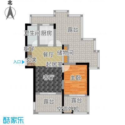蓝庭国际78.57㎡1号楼1-R户型1室2厅1卫