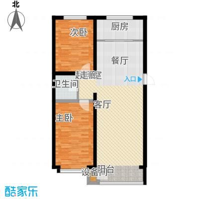 蔚蓝花城户型图二室二厅一卫(2/7张)