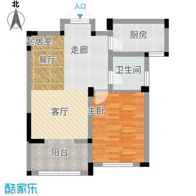 金美林花园69.00㎡D2户型1房2厅1卫69平米户型1室2厅1卫