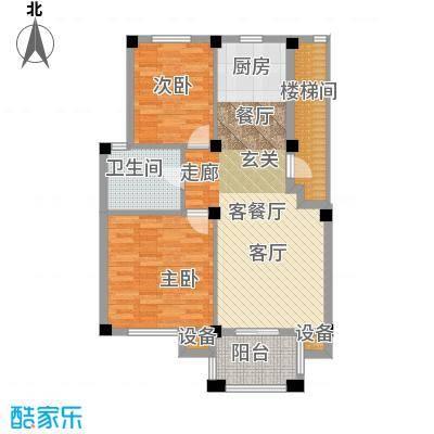 远洲国际城78.17㎡两室两厅一卫户型2室2厅1卫