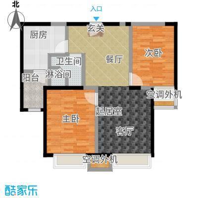 华发新城89.00㎡E1a户型 2室2厅户型
