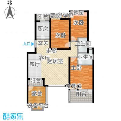 景瑞阳光尚城120平米三室两厅户型