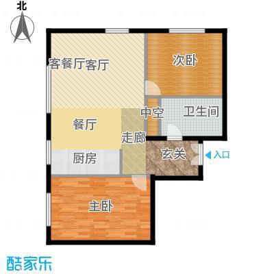 北京ONE114.38㎡图为1-A户型2室1厅1卫