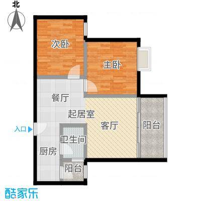 东方苑64.75㎡2号楼2-7层04单位户型2室1卫
