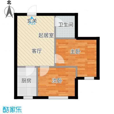 缇香漫城59.51㎡L户型两室一厅一卫户型2室1厅1卫QQ