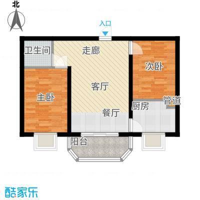 左岸阳光户型图两室一厅一卫(3/4张)