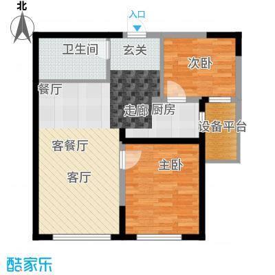 钻石9座78.76㎡两室两厅一卫78.76平米户型图X