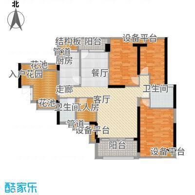 招商澜园135.12㎡招商澜园户型图11、12、13栋A单元E+F户型三房二厅二卫(2/11张)户型10室