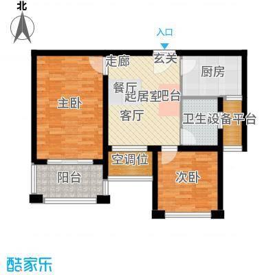 银河湾第1城71.20㎡二期C户型2室2厅1卫户型2室2厅1卫