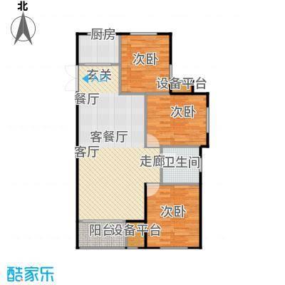 海航YOHO湾108.80㎡G户型三室两厅一卫108.8平米户型图户型3室2厅1卫