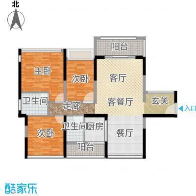 怡安皇庭124.00㎡C户型3室1厅2卫1厨