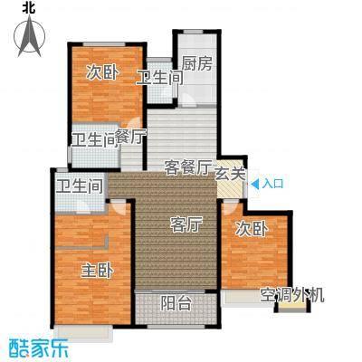 绿地白金汉宫141.08㎡A1、A2、A3、A4、A5、A6楼B3户型三房两厅二卫141.08平米户型3室2厅2卫