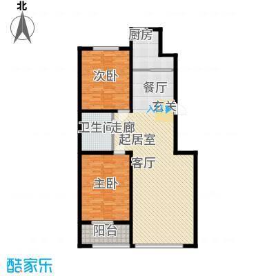 蒙鑫国际名城108.00㎡三室两厅户型