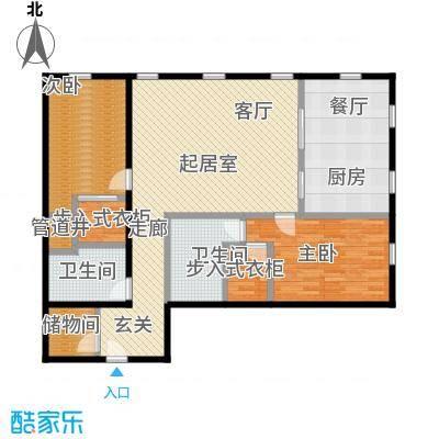 万国城MOMA148.00㎡F户型 两室三厅两卫户型2室3厅2卫