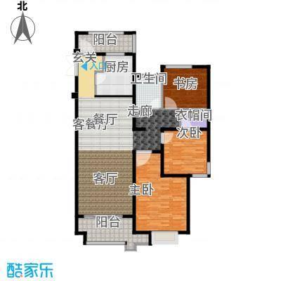 绿地白金汉宫118.26㎡A1、A2、A3、A4、A5、A6楼B1户型118.26-119.16平米户型3室2厅1卫