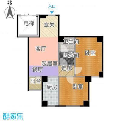南山学府74.81㎡4号楼3单元2/3号 二室一厅一卫户型2室1厅1卫