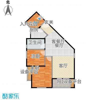香海上峰83.44㎡2室2厅1卫户型
