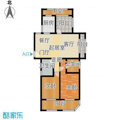 青枫壹号120.00㎡C户型 两室两厅两卫+空中花园户型3室2厅2卫
