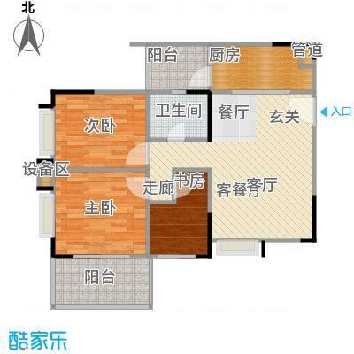 鸿福花园80.65㎡鸿福花园户型图B三房两厅一卫(2/4张)户型10室