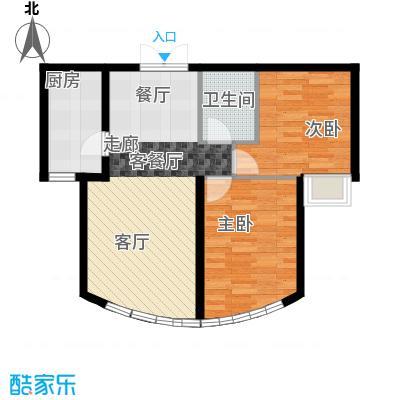 新华联运河湾86.76㎡B\'-2户型2室2厅1卫