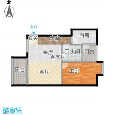 西湾阳光61.73㎡北座3-7层B户型1室1厅1卫1厨