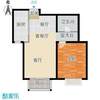 住总尚清湾70.50㎡一室两厅户型1室2厅1卫