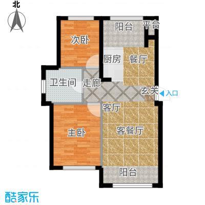 知润山73.00㎡K户型,两室两厅一卫,73平米,10#11#户型2室2厅1卫