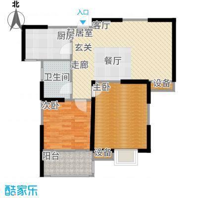 府西花园84.51㎡府西花园户型图二房二厅一卫-84.51平方米-96套(5/6张)户型10室