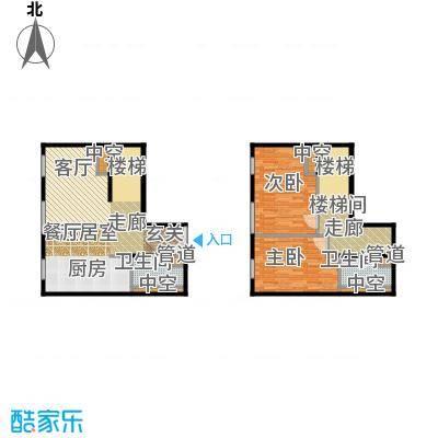 北京ONE148.48㎡图为1-B跃层户型2室2卫