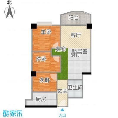 幸福立方8-11、13层07单元户型3室1卫1厨