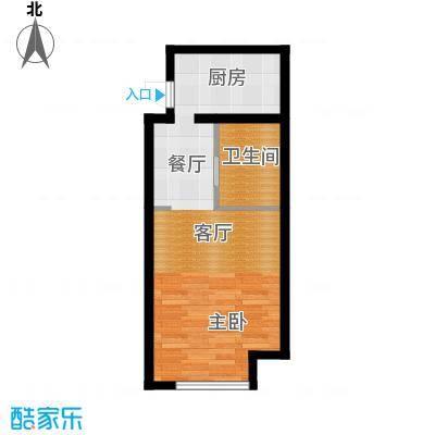 星海大观54.00㎡海间一色 54平方米 一室一厅一卫户型