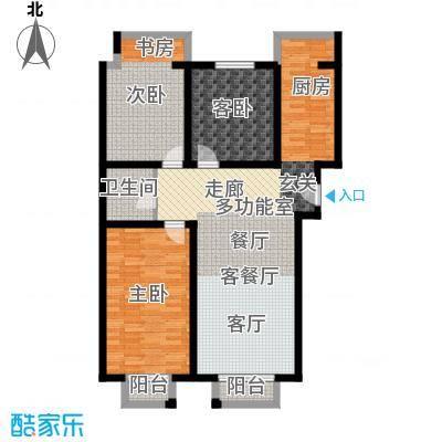 盛唐府邸e-13室2厅1卫1厨户型