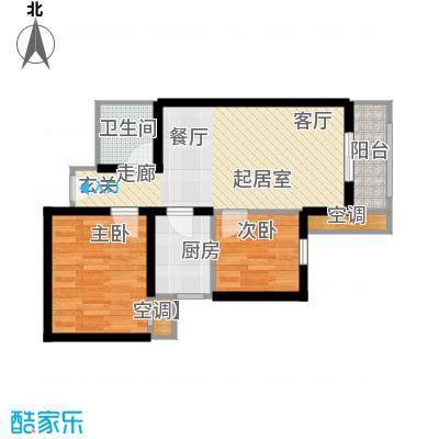 莱茵小城68.54㎡D户型 两室两厅一卫户型2室2厅1卫