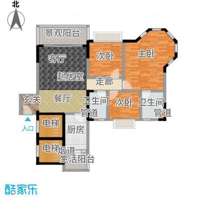 恒大城100.00㎡恒大城户型图三房两厅两卫(1/9张)户型3室2厅2卫