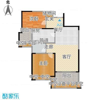 天津碧桂园90.00㎡J82 B1户型2室2厅1卫