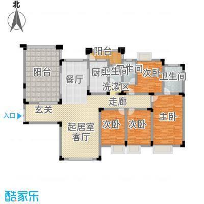 鸥鹏华府213.00㎡B3-1中间套中间层4室2厅3卫1厨 213.00㎡户型4室2厅3卫