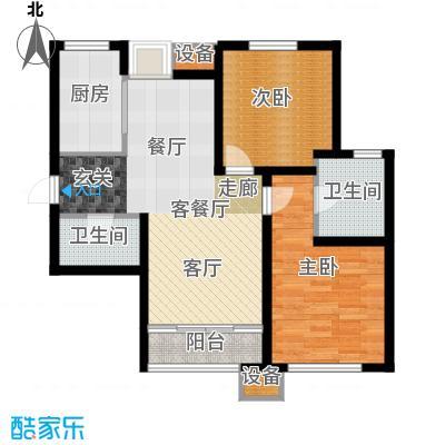 东丽1号94.40㎡D户型 两室两厅两卫户型