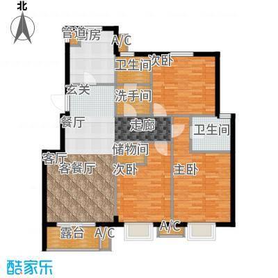 缇香漫城127.00㎡F户型三室二厅二卫户型3室2厅2卫X