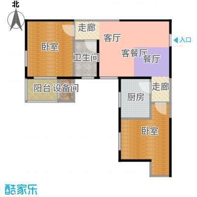 金泰怡景花园69.00㎡B1户型两室两厅一卫户型2室2厅1卫