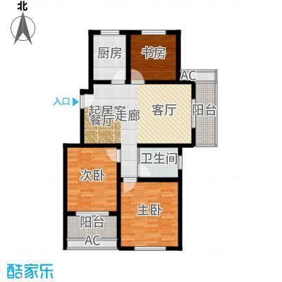 河海新邦D户型3室2厅1卫1厨101.00㎡户型