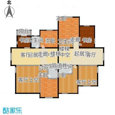 亚隆畔山J户型三层平面图(本层建筑面积85-98平米 本套建总筑面积422-434平米)户型8室2厅8卫