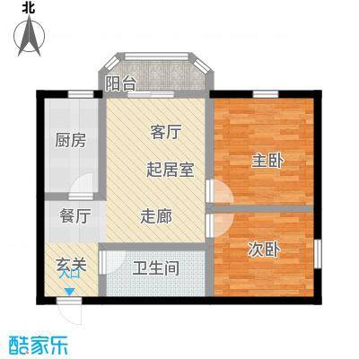 山屏美境66.15㎡两室两厅一卫户型2室2厅1卫-T